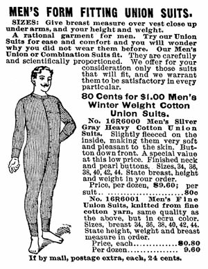 Men's Union Suit from Sears Catalog