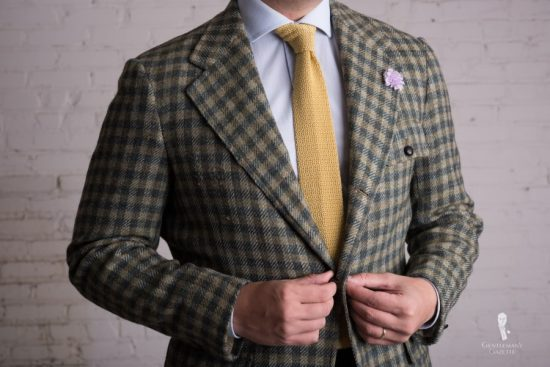 Checked Tweed in Green with flap pockets