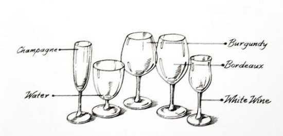 The shapes of various stemware that may or may not be used at an informal dinner party.