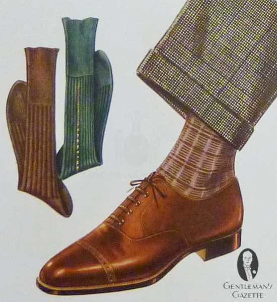 Brown Oxford with patterns socks and pinpoint trousers