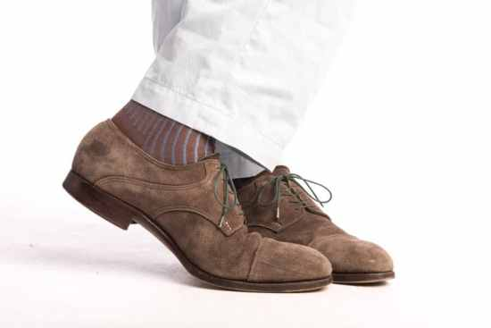 Light Brown & Blue Socks with Suede Shoes in Brown
