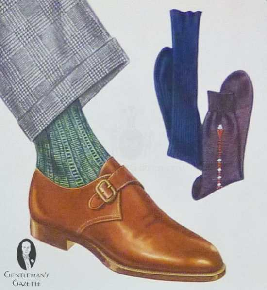 Mid brown monk strap shoe with green socks and classic prince of wales suit