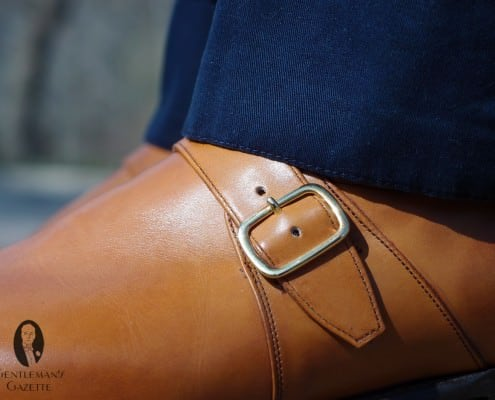 Navy trousers with tan monk strap shoe