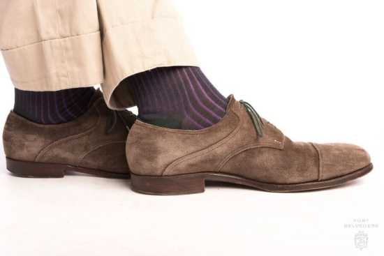 Shadow Stripe Ribbed Socks Dark Green & Purple with brown suede shoe and khakis
