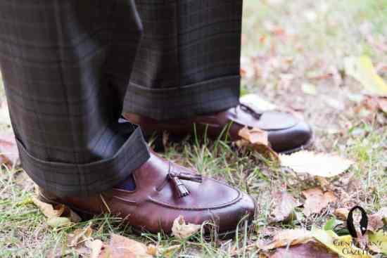 Open cuffs, Fort Belvedere shadow stripe socks & Meermin Cordovan tassel loafers