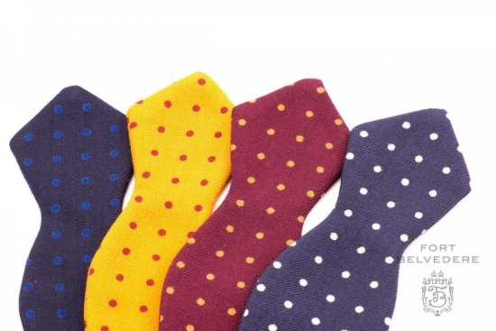 Wool Challies Bow Ties with Polka Dots by Fort Belvedere