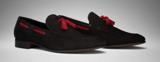 Scarosso Model Mezzano Tassel Loafer in black suede with red tassels