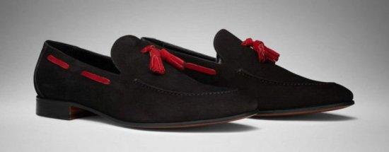 Scarosso Model Mezzano Tassel Loafer in black suede with red tassels