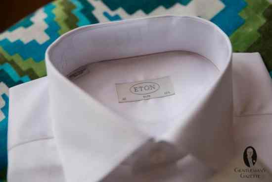 The classic Eton Red Ribbon shirt in white