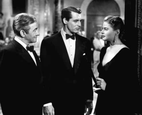 Cary Grant communicating in black tie