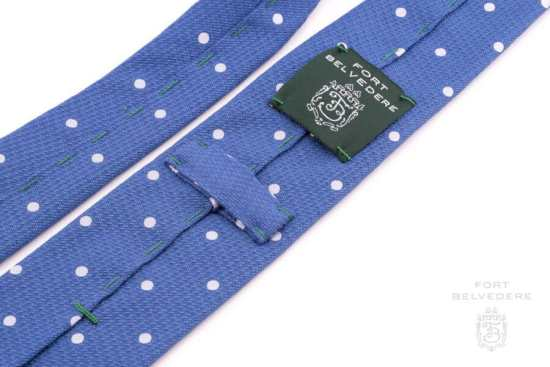 3 Fold Tie in Blue with white Polka Dots - Handmade by Fort Belvedere (2)