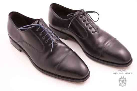 Black Captoe Oxford with dark gray and black dress shoelaces by Fort Belvedere