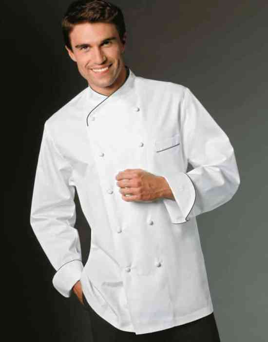 A chefs jacket keeps you clean during dinner and still looks good