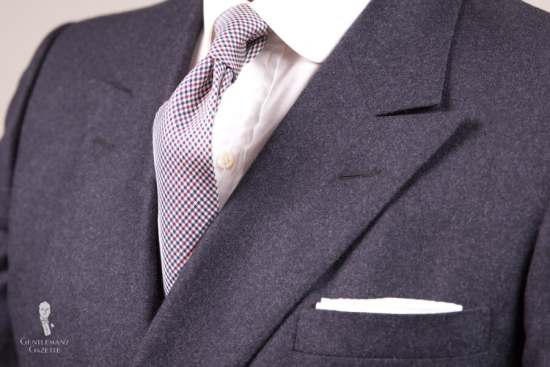 Dark Flannel Suit with Silk Tie & TV Fold Pocket Square