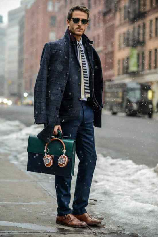 A great business casual outfit with outerwear and accessories