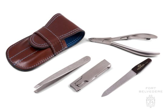 Brown Calf Leather and Blue Deerskin Manicure Kit with Stainless Steel Nail Clipper and Tweezers Made in Germany by Fort Belvedere-6290