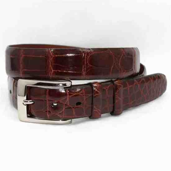An American alligator dress belt