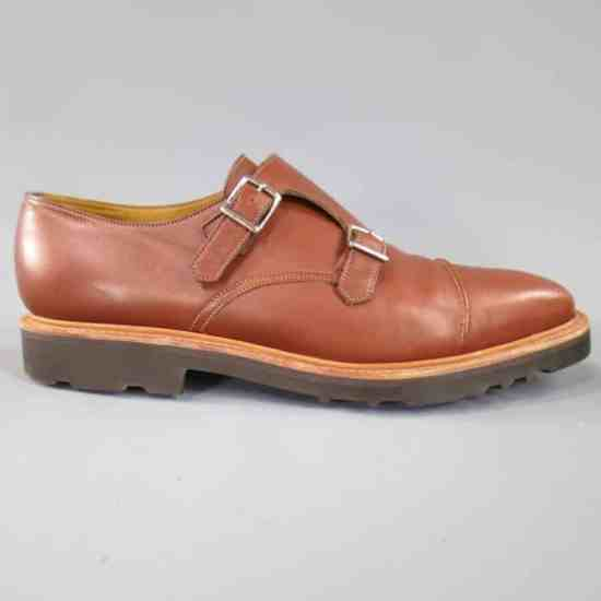 Rubber soled double monk strap