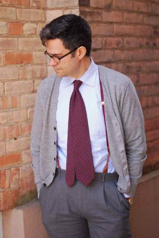 Business Casual Mens by hogtownrake - Cardigan Madder inspired tie that extends beyond the waistband with suspenders, and vintage watch
