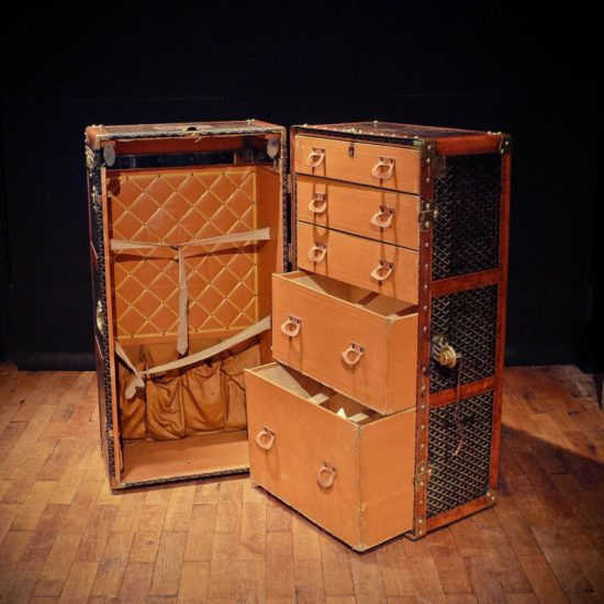 An exquisite Goyard wardrobe trunk is perfect for the most discerning aristocrat who doesnt carry his own bags