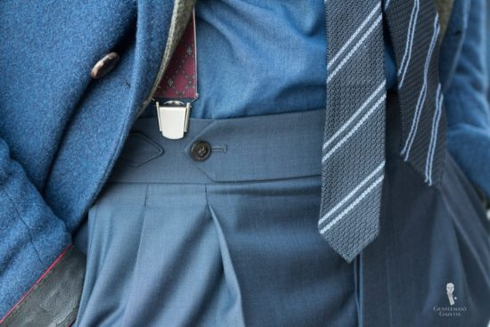 Clip-on suspenders with grenadine tie - study of greys and blues