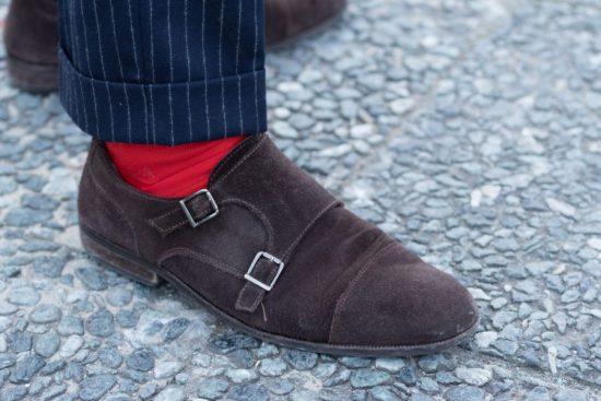 Flannel Pinstripe with red socks and suede chocolate double monks