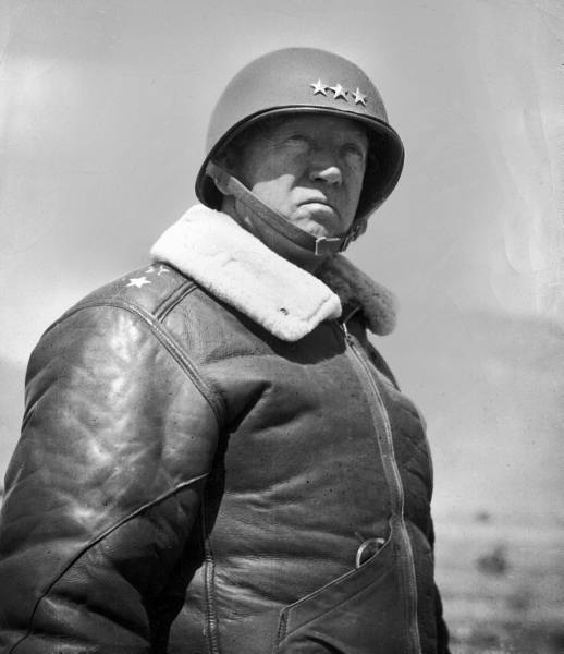 General Patton wearing a b-3 bomber jacket