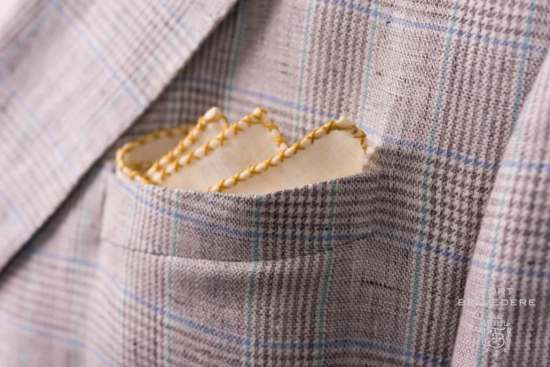 Pale Yellow Linen Pocket Square with yellow x stitch edge handrolled Fatto a mano Made in Italy - Fort Belvedere