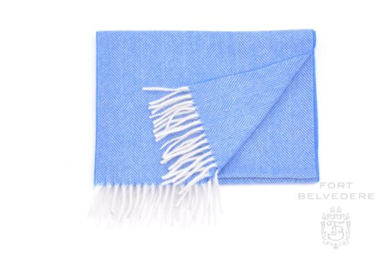 Cashmere Scarf for Men in Blue Herringbone Pattern 72 x 12 inches - Fort Belvedere