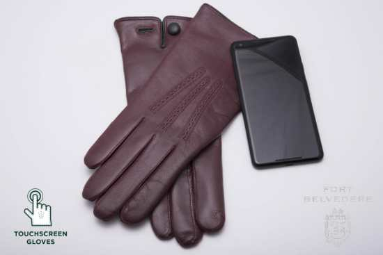 Burgundy Touchscreen Gloves by Fort Belvedere