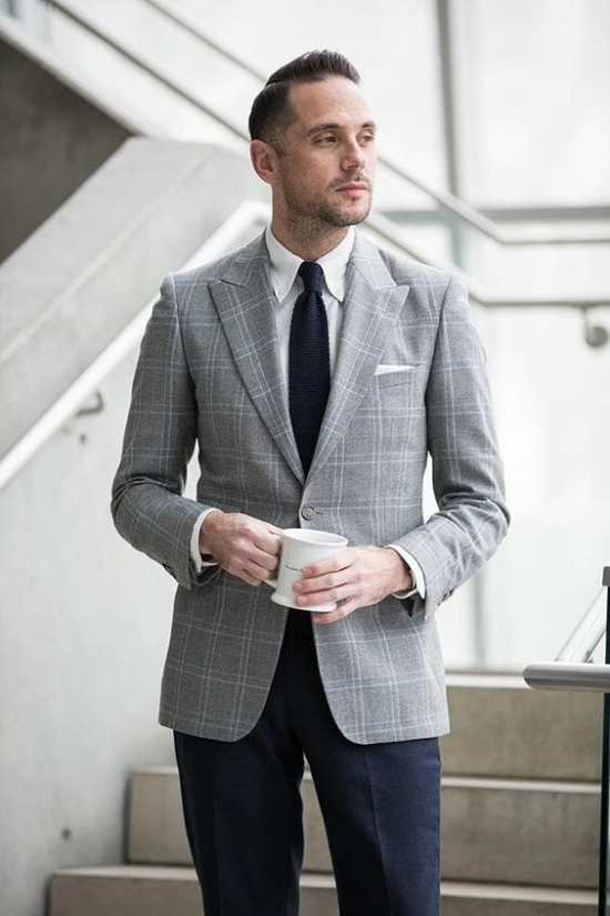 Brian Sacawa of He Spoke Style wearing a glen check gray sport coat and navy blue pants.