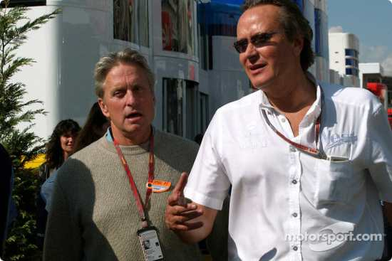 Michael Douglas and Mansour Ojjeh, director of TAG