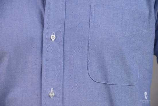 The chest pocket is a traditional OCBD feature.