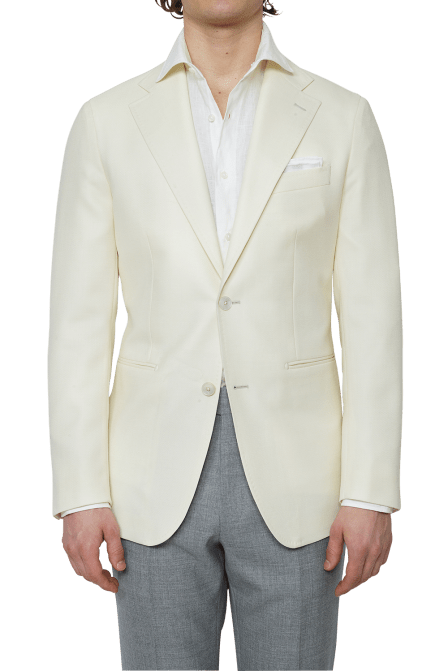 An example of jetted pockets on a summer sport coat