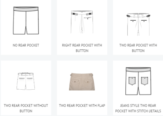 Some of the rear pocket options on custom made-to-measure trousers from Luxire.