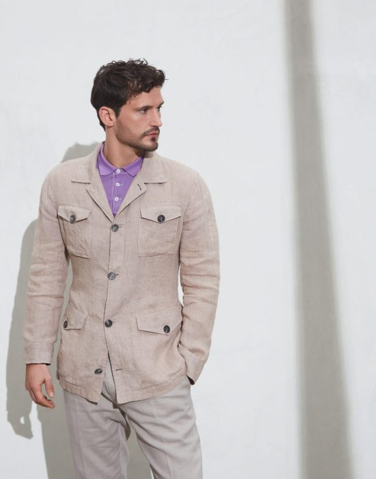 A field jacket and Cucinelli safari jacket. Notice that the bottom pockets are flap but not patch pockets while the top pockets are hybrid flapped patch pockets.