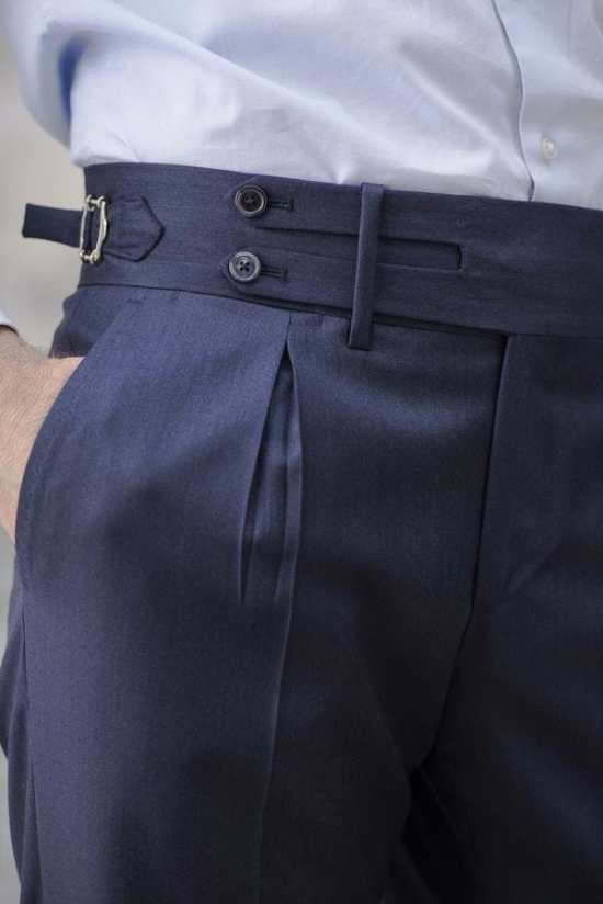 Typical slant pockets on an atypical pair of Neapolitan-style pants.