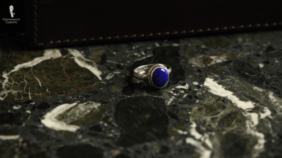 Dark blue lapis lazuli in a sterling silver ring