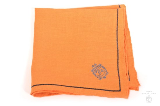 Bright Orange Linen Pocket Square with Pewter Contrast Embroidery - Fort Belvedere