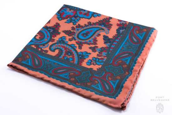 Bronze Orange Madder Silk Pocket Square with Turquoise,Green, Brown Large Paisley- Fort Belvedere