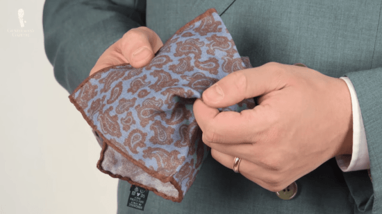 Brown & blue paisley pocket square