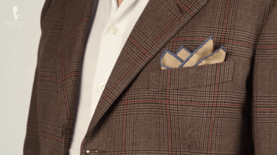 Brown with blue contrast edge pocket square