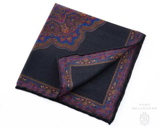 Charcoal, Purple and Blue Silk-Wool Pocket Square with Paisley Motifs - Fort Belvedere