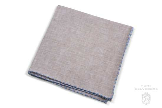 Light Brown Linen Pocket Square with Blue Handrolled X Stitch - Fort Belvedere