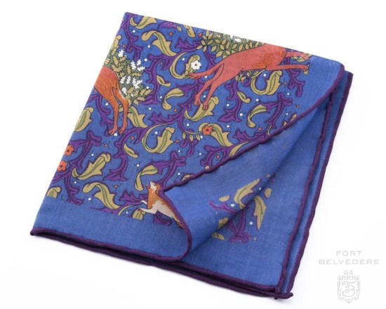 Mid Blue Silk-Wool Pocket Square with Hunting Motifs - Fort Belvedere