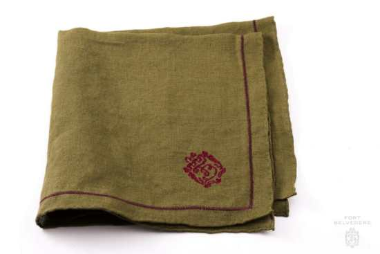 Olive Green Linen Pocket Square with Dark Brown Contrast Embroidery - Fort Belvedere