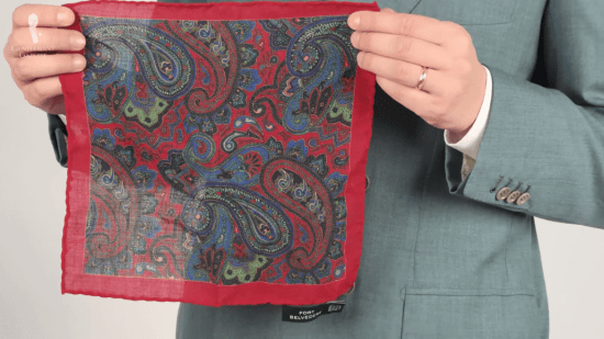Red, green, blue paisley pocket square
