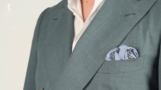 Linen paisley pocket square