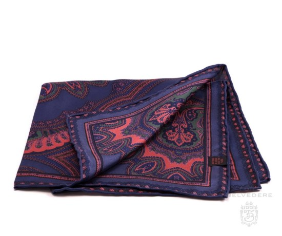Silk Pocket Square in Dark Blue with Orange, Green Large Paisley Pattern- Fort Belvedere