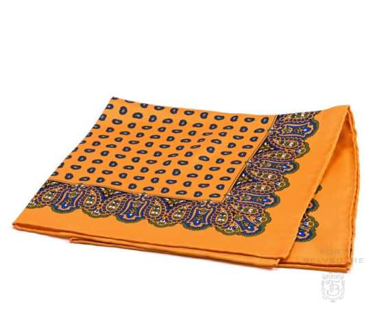 Silk Pocket Square in Sunflower Orange with Small and Large Paisley - Fort Belvedere